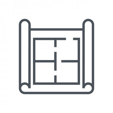House plan, wireframe icon