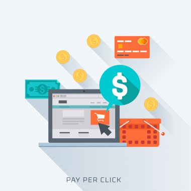 Pay per click, flat style, colorful, vector icon set