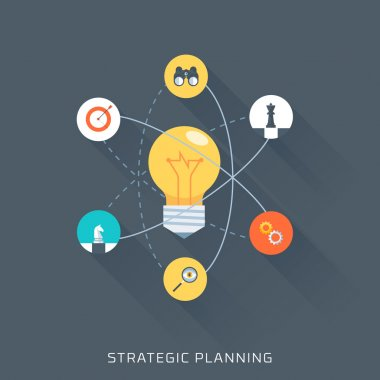 Strategic planning, flat style, colorful, vector icon set
