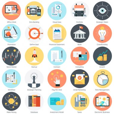 Business and finance theme, flat style, colorful, vector icon se