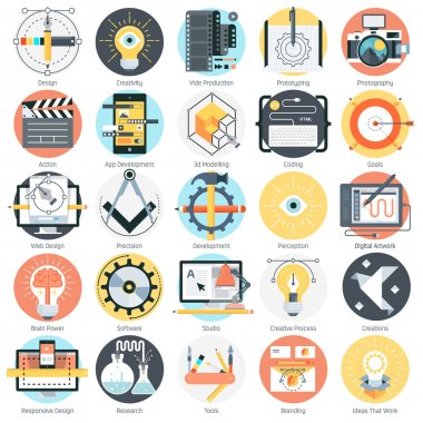 Design and production theme, flat style, colorful, vector icon s