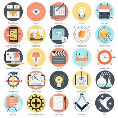 Creative design theme, flat style, colorful, vector icon set