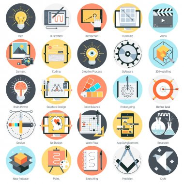 Creative design theme, flat style, colorful, vector icon set