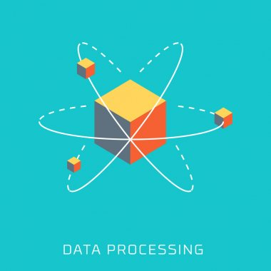 Data Processing, flat style, colorful, vector icon