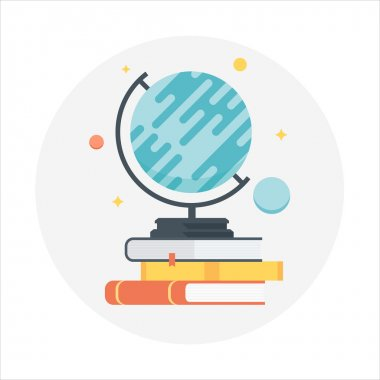 Globe and Books flat style, colorful, vector icon