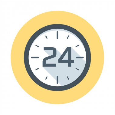 Twenty-four hours open icon theme, flat style, colorful, vector