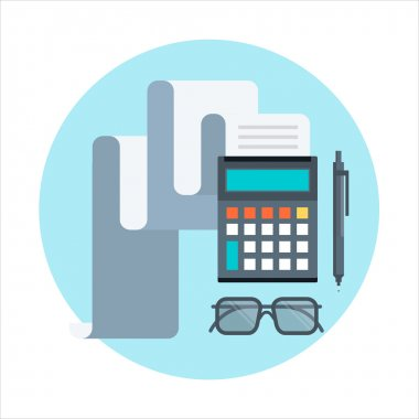 Accounting, calculating theme, flat style, colorful, vector icon