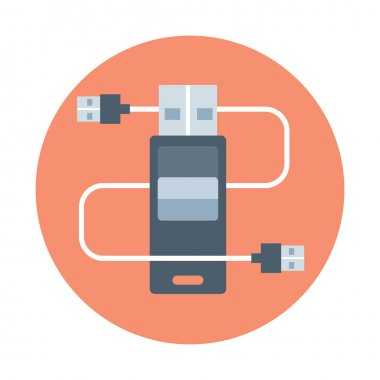 Plug in, flat style, colorful, vector icon