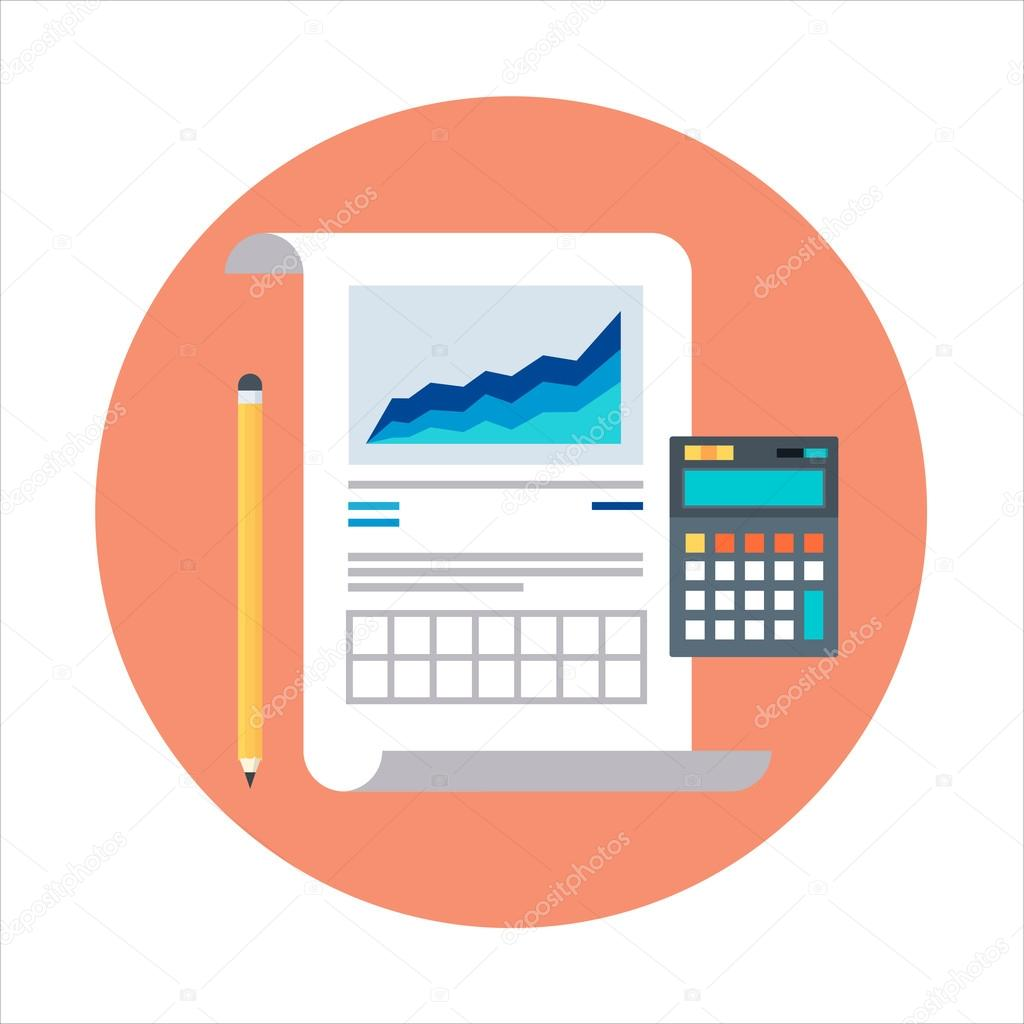 statistics report theme flat style colorful vector