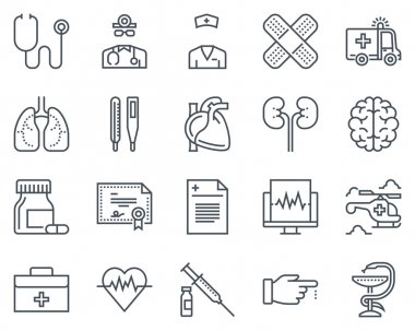 Medical icon set suitable for info graphics, websites and print media. Black and white flat line icons clip art vector