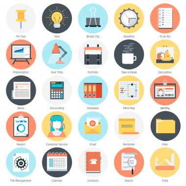 Work tools and business theme, flat style, colorful, vector icon set