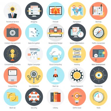 Search engine optimisation theme icon set