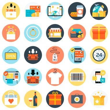 Shopping, flat style, colorful, vector icon set