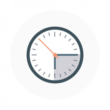 Clock flat style, colorful, vector icon