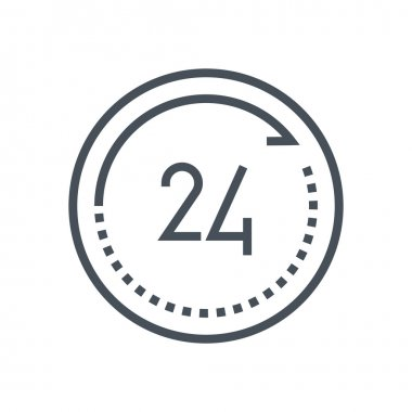 Twenty four hours open icon
