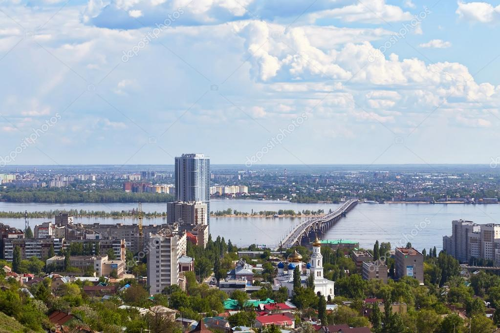 View of Saratov and automobile bridge from monument