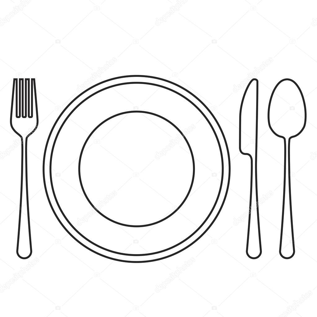Assiette vide avec cuill re fourchette et couteau image vectorielle oliveradesign 106886320 - Assiette dessin ...