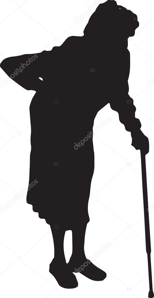 silhouette of walking old woman with a cane. vector illustration