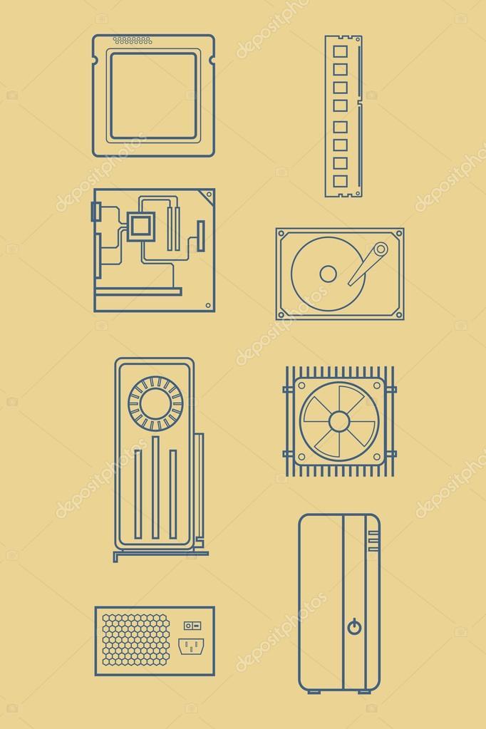 Reihe von Computer-Hardware Icons. HDD, Kühler, Desktop Gehäuse ...