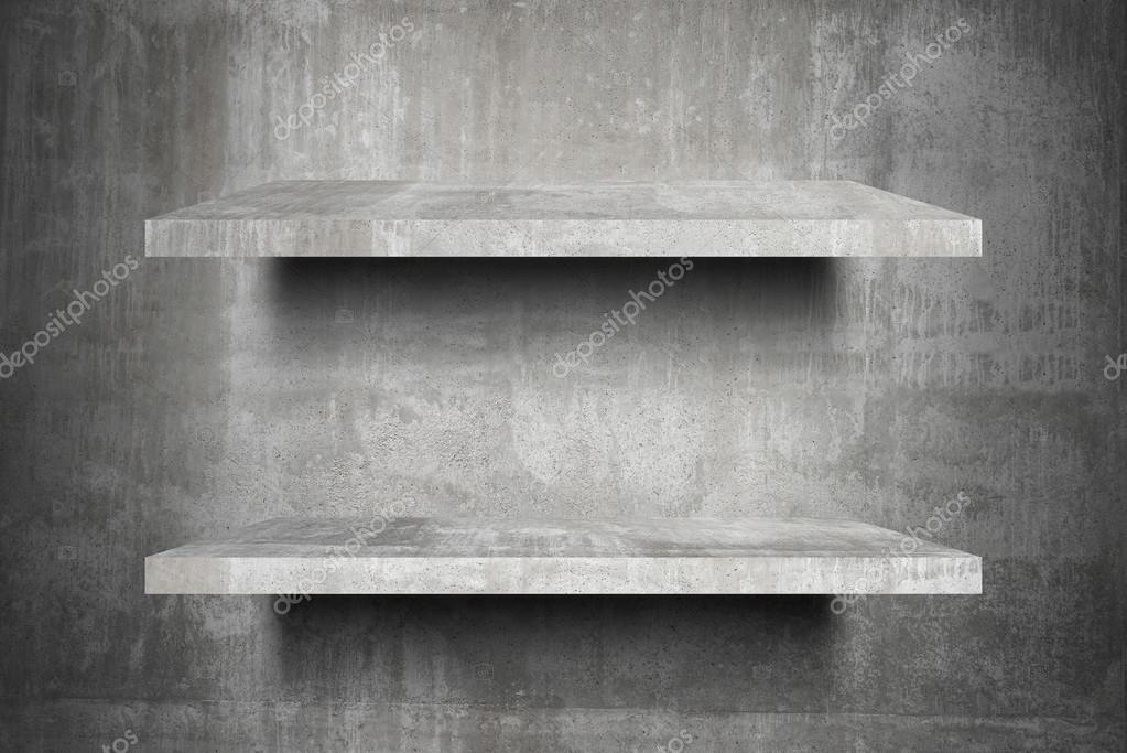 Wandplanken Van Beton : Dubbele lege beton planken top klaar voor product display montage