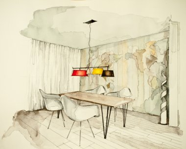 drawing of apartment flat dining room