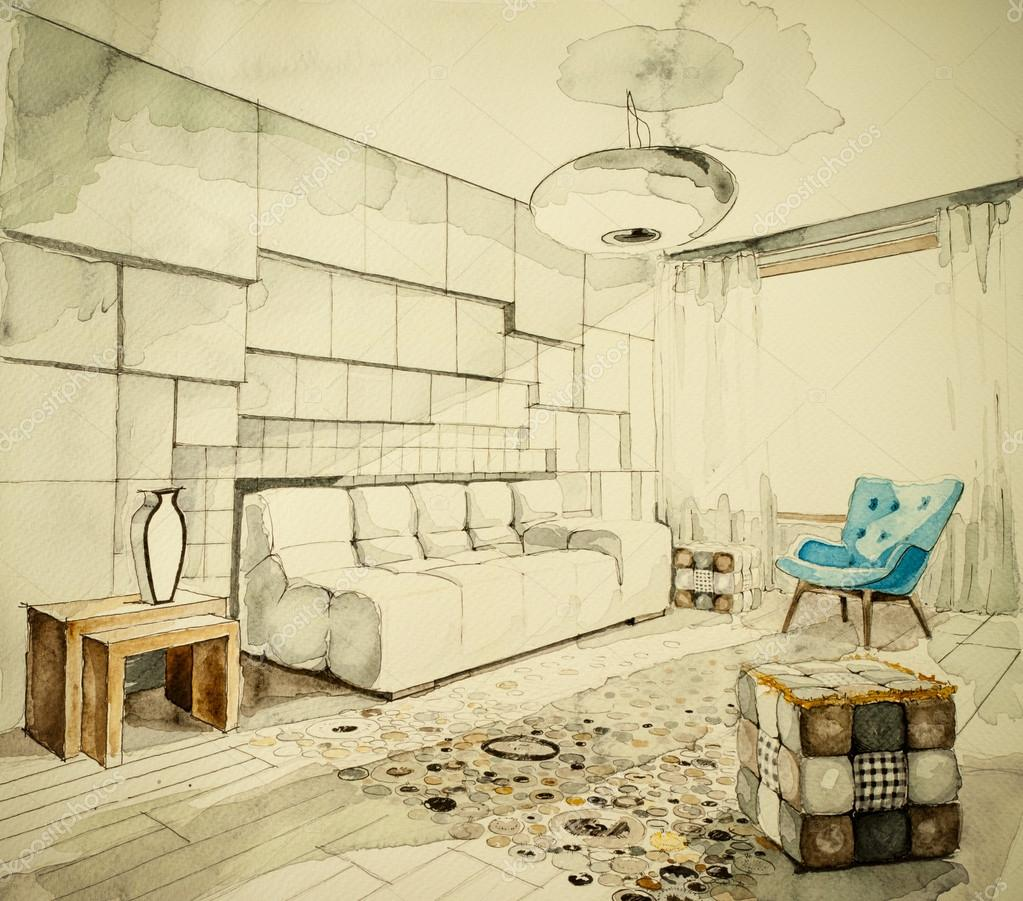 Living-room watercolor freehand architectural drawing