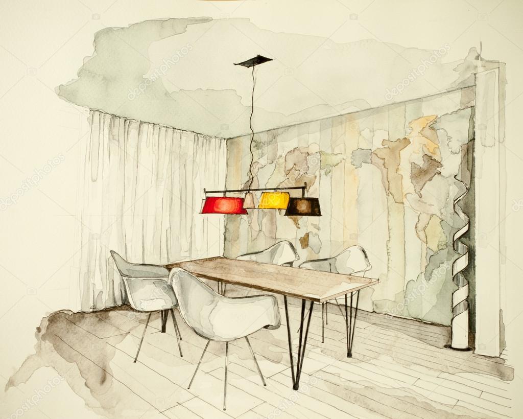 Sala Da Pranzo Disegno.Disegno Della Sala Da Pranzo Piatto Di Appartamento Foto