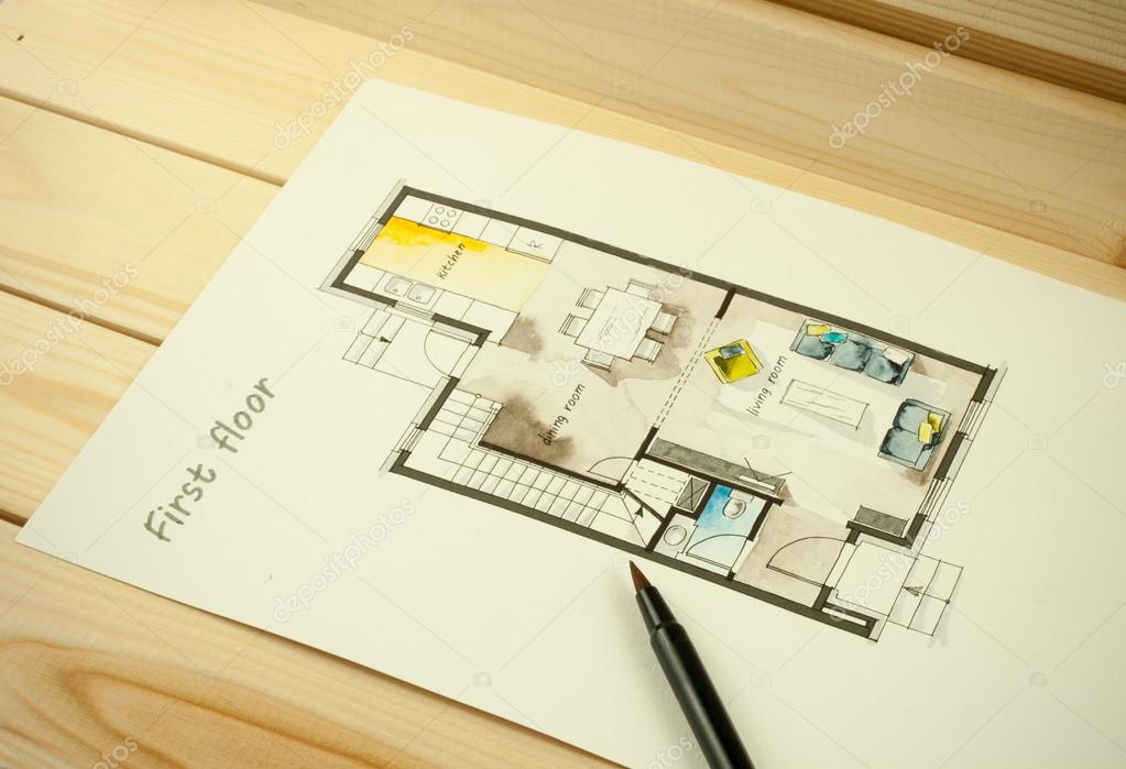 Sketch drawing of apartment flat floor plan stock photo for Apartment stock plans