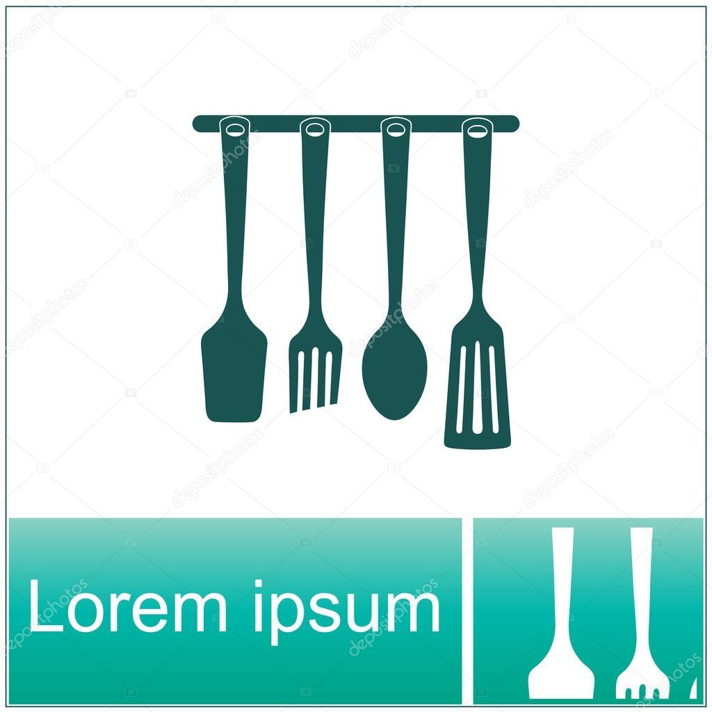 Kitchen utensils set, vector icon. — Stock Vector © skarida.ukr.net ...