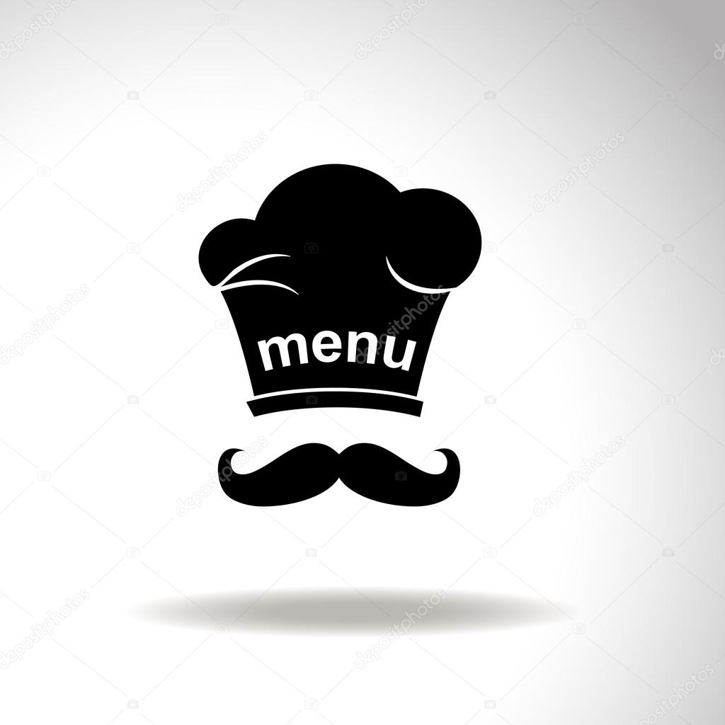 Chef and cook hats set isolated with mustache — Stock Vector ... cc5357378c1a