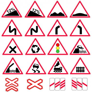 Set of the road signs vector icon.