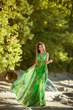 sexy sensual very beautiful brunette girl with long hair in a green dress goes on the sand