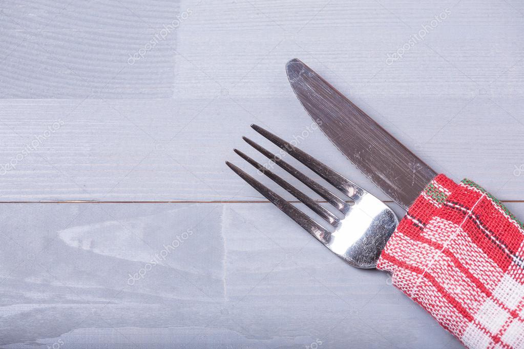 Retro Tabak Keukens : Bestek mes vork natuurlijke houten achtergrond keuken doek