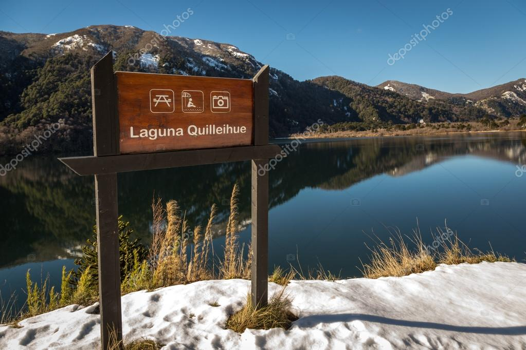Winter view of lake Quilleihue sign