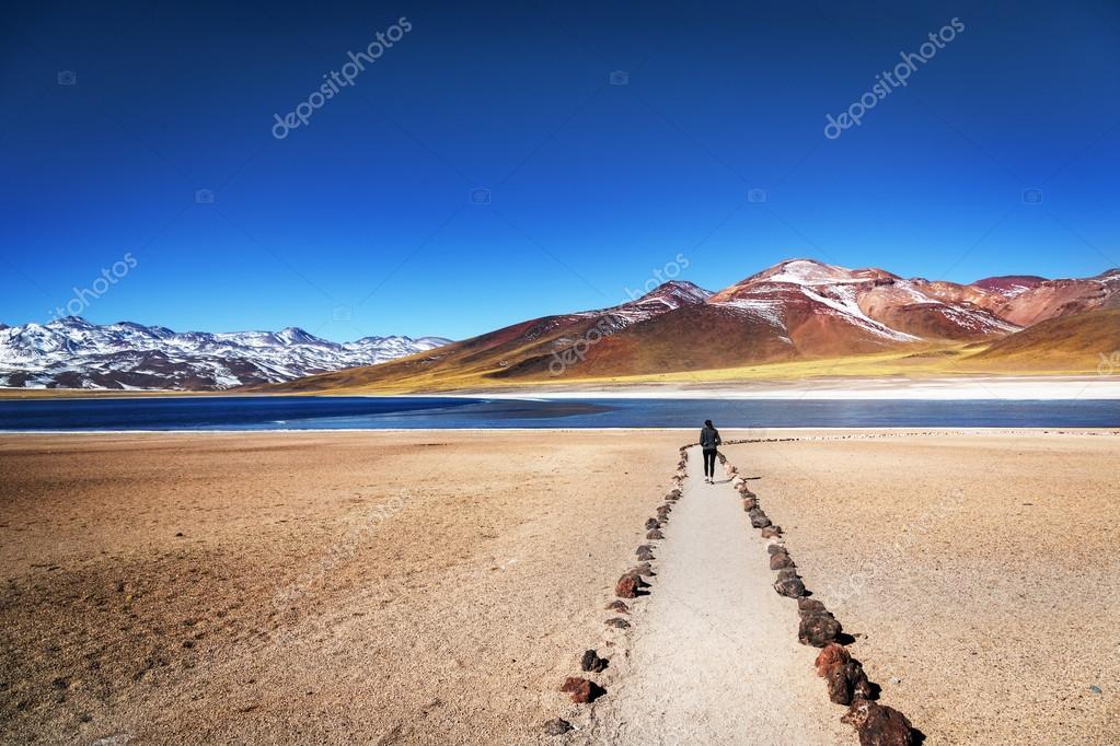 Tourist enjoying landscape of Atacama Desert