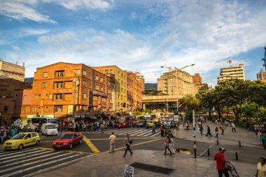 People walking around downtown Medellin