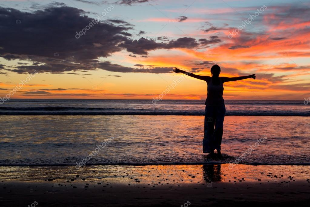 woman enjoying sunset in south Nicaragua