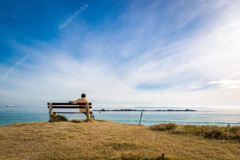 man enjoying blue sea