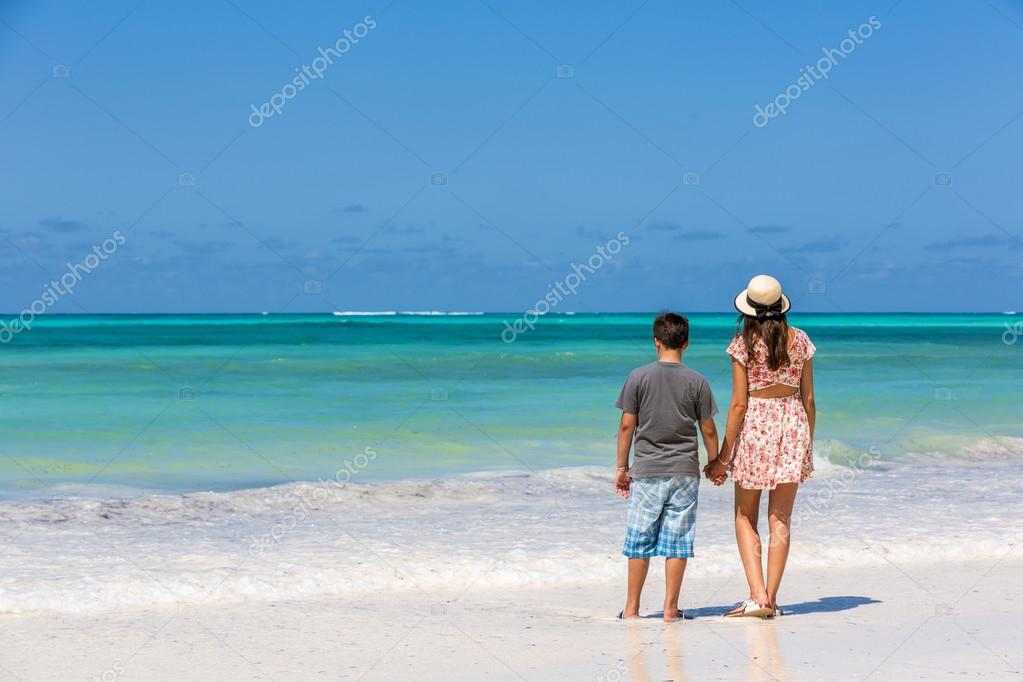 mother with son enjoying holidays