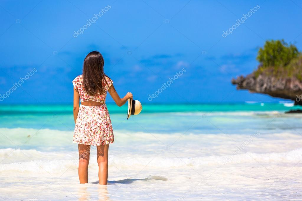 Woman enjoying beach
