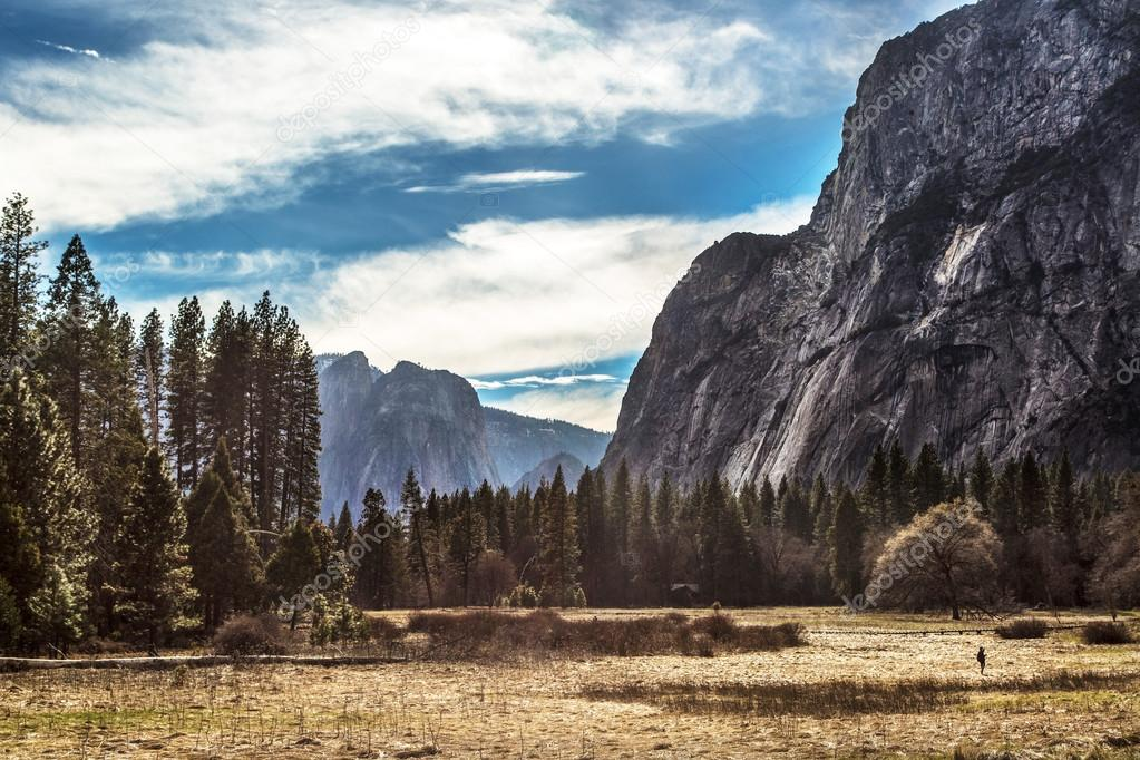 Yosemite Valley in a blue sky day, California.