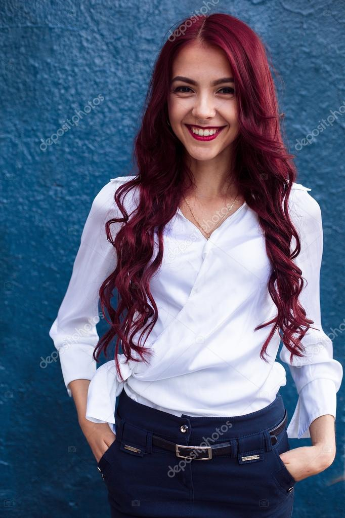 Portrait Of Redhaired Rehead Laughing Smiling Girl With Pink Hair