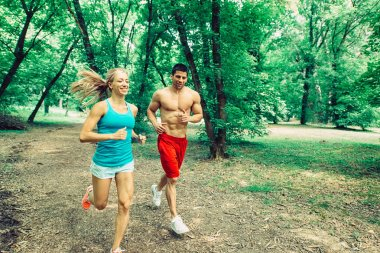 Young jogging couple