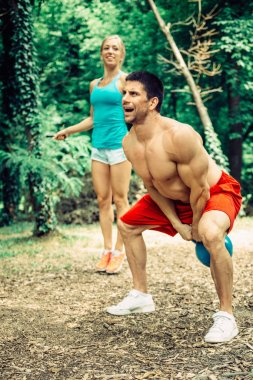 Couple exercising outdoors