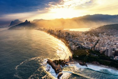 Sunset in Rio De Janeiro. Aerial view of  Ipanema. stock vector