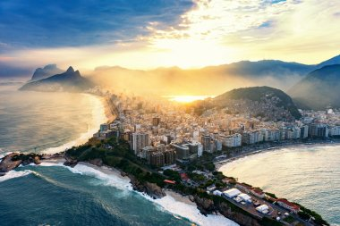 Copacabana and Ipanema beaches in Rio De Janeiro. Shot from helicopter, sunset time stock vector