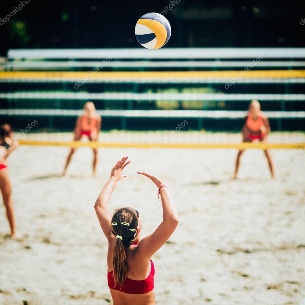 beach volleyball girl Stock Photo - Alamy