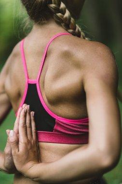 woman doing Reverse Prayer Position