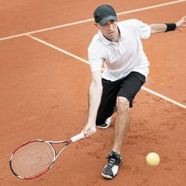 Tennis player during match