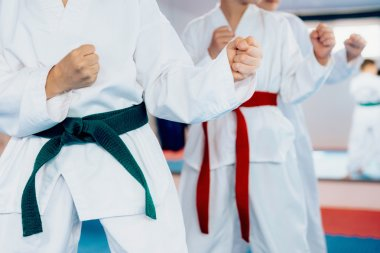 Children during martial arts training